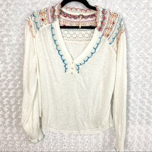 NWOT Free People Embroidered Boho Burnout Top